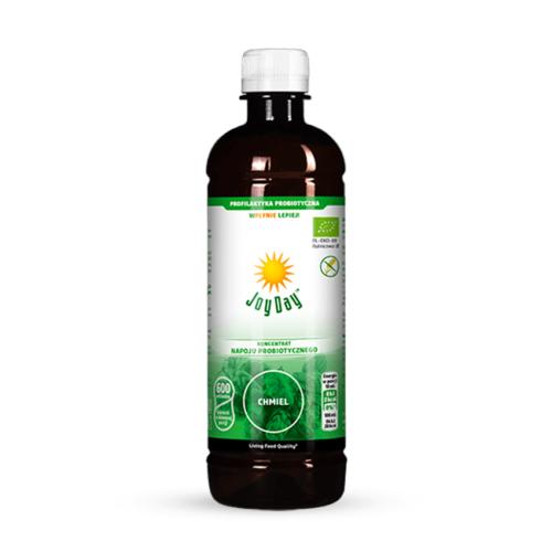 Koncentrat probiotyczny zawierający aktywne drobnoustroje wraz z ich metabolitami i ekstraktem ziołowym z przykwiatków chmielu, kwiatów czarnego bzu, głogu i lipy, liści melisy oraz ziela skrzypu