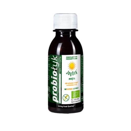 Napój probiotyczny zawierający aktywne i żywe bakterie wraz metabolitami i ekstraktem miętowo ziołowym